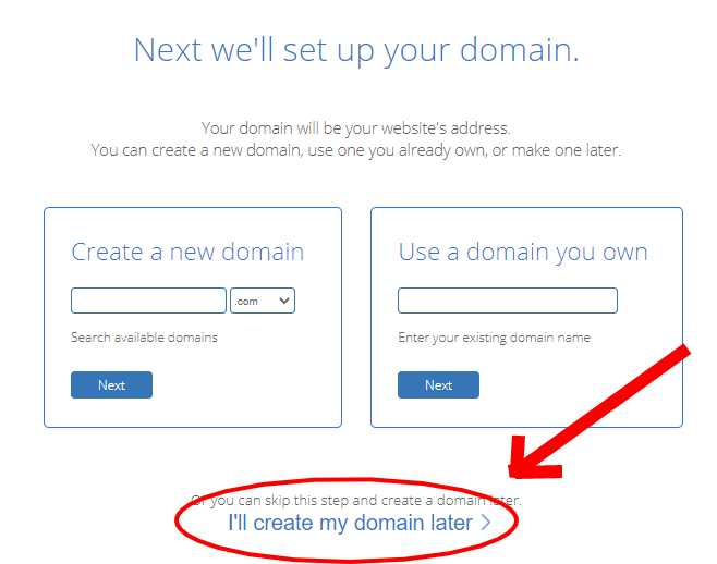 Choose a free domain with Bluehost